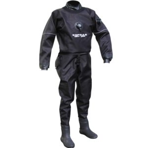 Dry suits with back zipper
